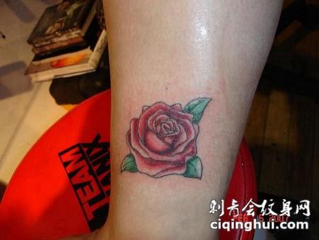 小腿上的玫瑰纹身图案