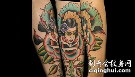 小臂上的美女玫瑰花纹身图案