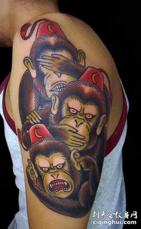 大臂上的三只猴子纹身图案