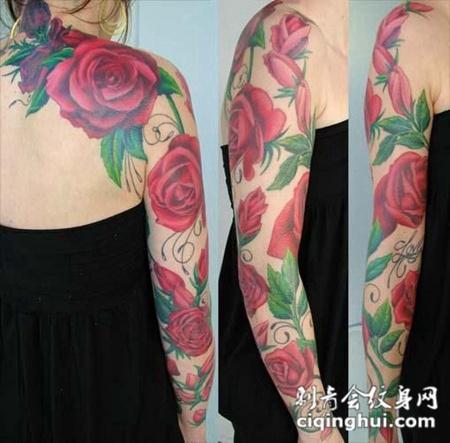 花臂玫瑰花纹身图案