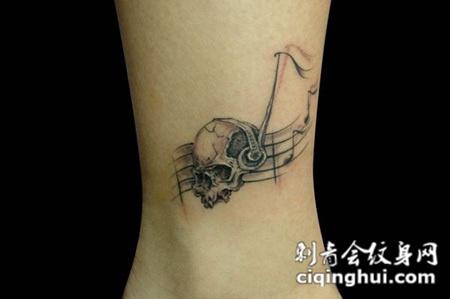 五线谱骷髅纹身