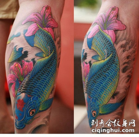 小腿上的花朵与鲤鱼纹身图片