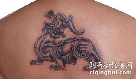 背部麒麟纹身