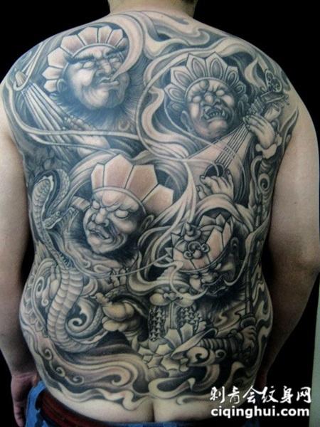 传统四大天王满背纹身图片