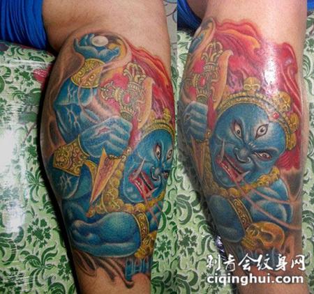 小腿上的金刚罗汉纹身图片