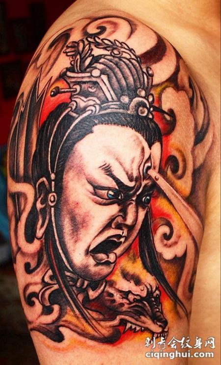 大臂二郎神纹身(图片编号:29622)_杨戬 - 刺青会