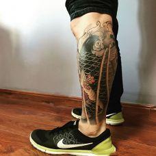 龙门一跃,小腿传统鲤鱼纹身图案