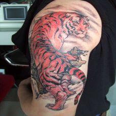 大臂上山虎纹身
