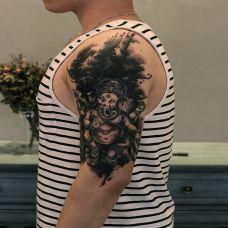 慈悲为怀,手臂象神个性纹身图案