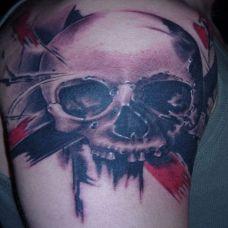 泼墨骷髅纹身