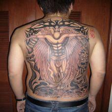 满背天使纹身