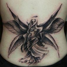 腰侧六翼天使纹身