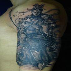 胳膊上的二郎神纹身