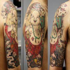 大臂弥勒佛纹身图案