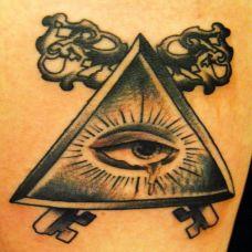 大臂三角形眼睛纹身图案