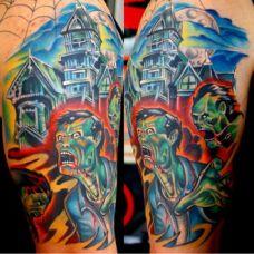 大臂城堡恶魔纹身图案