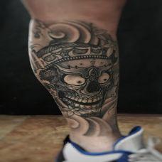 神秘魔神,小腿嘎巴拉骷髅纹身