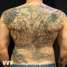 满背魔王死神纹身图案