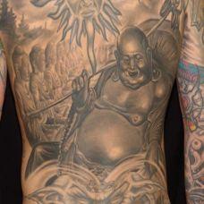 满背弥勒佛众佛相纹身图案