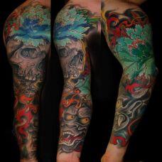 花臂般若绿牡丹纹身图案