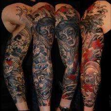 花臂般若牡丹纹身图案