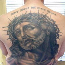 后背上的荆棘耶稣纹身图案