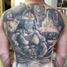 满背凯尔特战士纹身图案