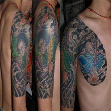 半胛日本武士纹身图案