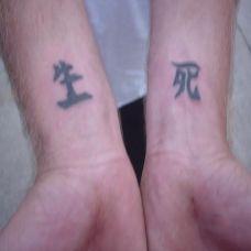 手腕上的生死汉字的纹身图案