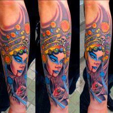 小臂上的青衣花旦纹身图案