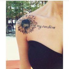 肩膀上的向日葵纹身图案