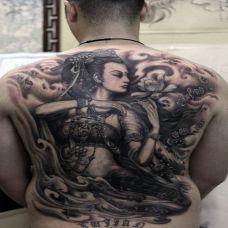 满背敦煌神女纹身图案
