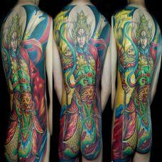 满背的传统二郎神纹身图案