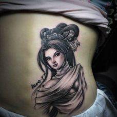 后腰上的敦煌神女纹身图案