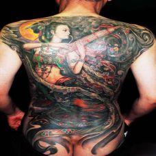 满背吹笙敦煌神女纹身图案