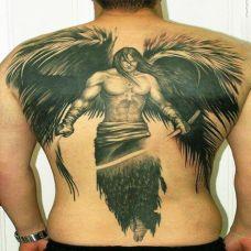 满背男性天使纹身图案