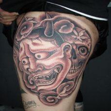 大腿上的骷髅般若纹身图案