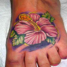 脚面上的木槿花纹身图案