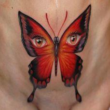 脖子上的眼睛蝴蝶纹身图案