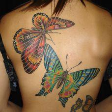 后背上的大蝴蝶纹身图案