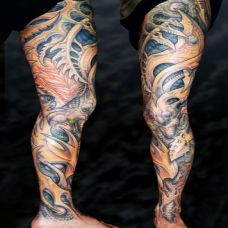 花腿机械骨质纹身图案