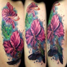 大臂上的木槿花蜂鸟纹身图案