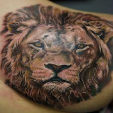 后背上的狮子头纹身图案