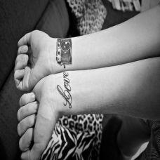 手腕上的相机英文纹身图案