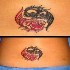 后腰上的双鱼太极图腾纹身图案