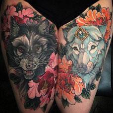 大腿上的狼纹身图案
