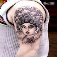 胳膊上的青衣花旦纹身图案