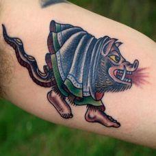 小臂上的老鼠纹身图案