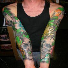 花臂骷髅菊花纹身图案
