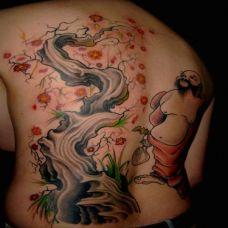 满背古树佛陀纹身图案